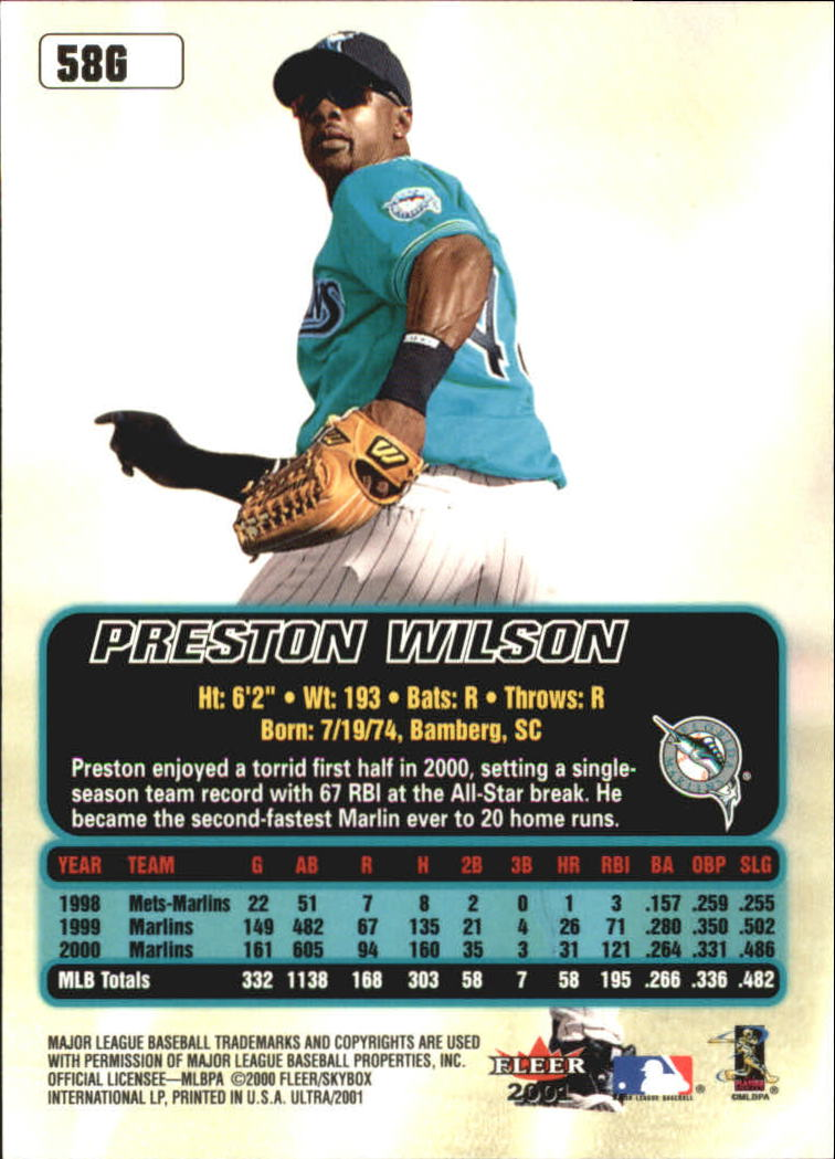 2001 Ultra Gold Medallion #58 Preston Wilson back image
