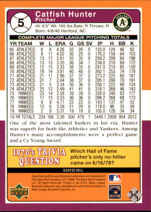 2001 Upper Deck Decade 1970's #5 Catfish Hunter back image