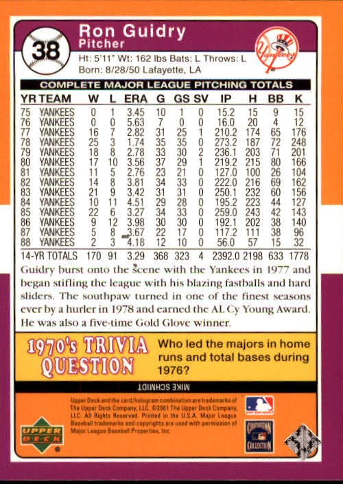 2001 Upper Deck Decade 1970's #38 Ron Guidry back image