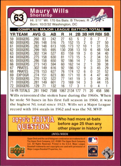 2001 Upper Deck Decade 1970's #63 Maury Wills back image
