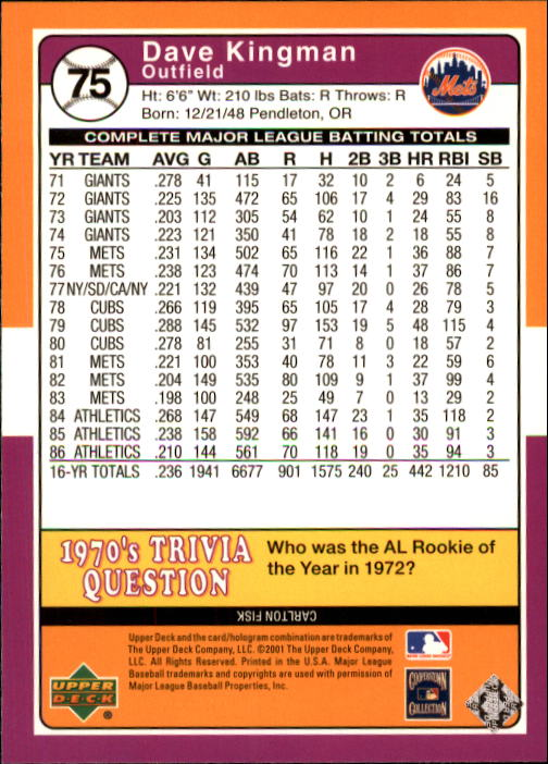 2001 Upper Deck Decade 1970's #75 Dave Kingman back image