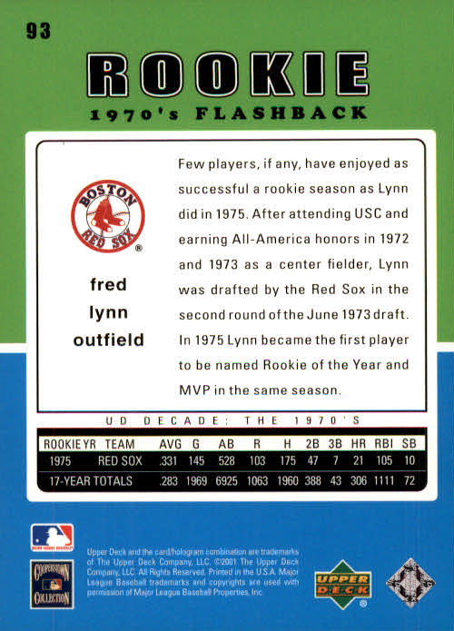 2001 Upper Deck Decade 1970's #93 Fred Lynn RF back image