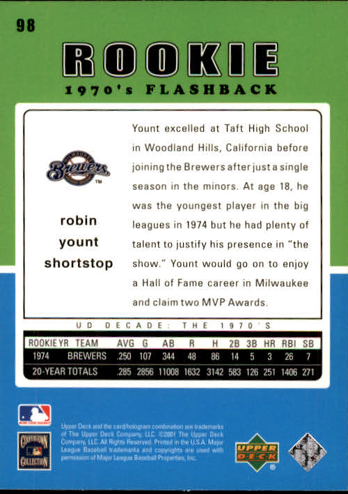 2001 Upper Deck Decade 1970's #98 Robin Yount RF back image