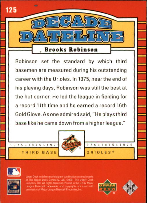 2001 Upper Deck Decade 1970's #125 Brooks Robinson DD back image