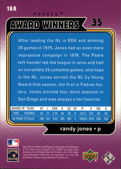 2001 Upper Deck Decade 1970's #160 Randy Jones AW back image