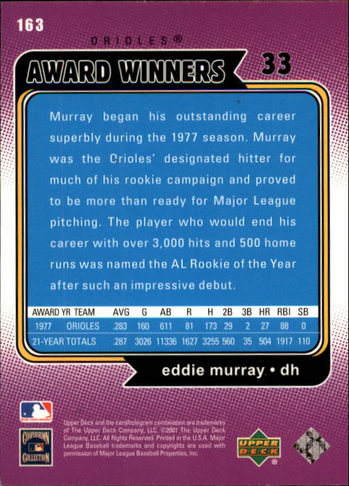 2001 Upper Deck Decade 1970's #163 Eddie Murray AW back image