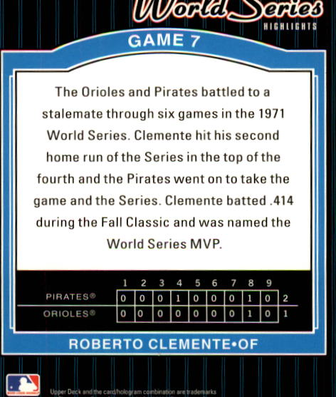 2001 Upper Deck Decade 1970's #172 Roberto Clemente WS back image