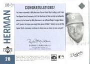 2001 Upper Deck Legends of NY Game Bat #LDBBH Billy Herman back image