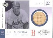 2001 Upper Deck Legends of NY Game Bat #LDBBH Billy Herman front image