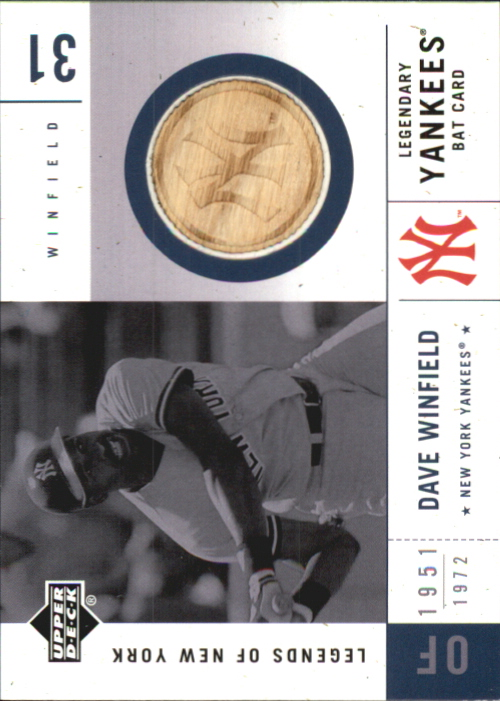 2001 Upper Deck Legends of NY Game Bat #LYBDW Dave Winfield