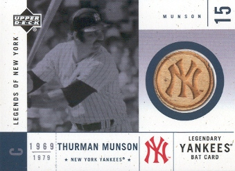 2001 Upper Deck Legends of NY Game Bat #LYBTM Thurman Munson