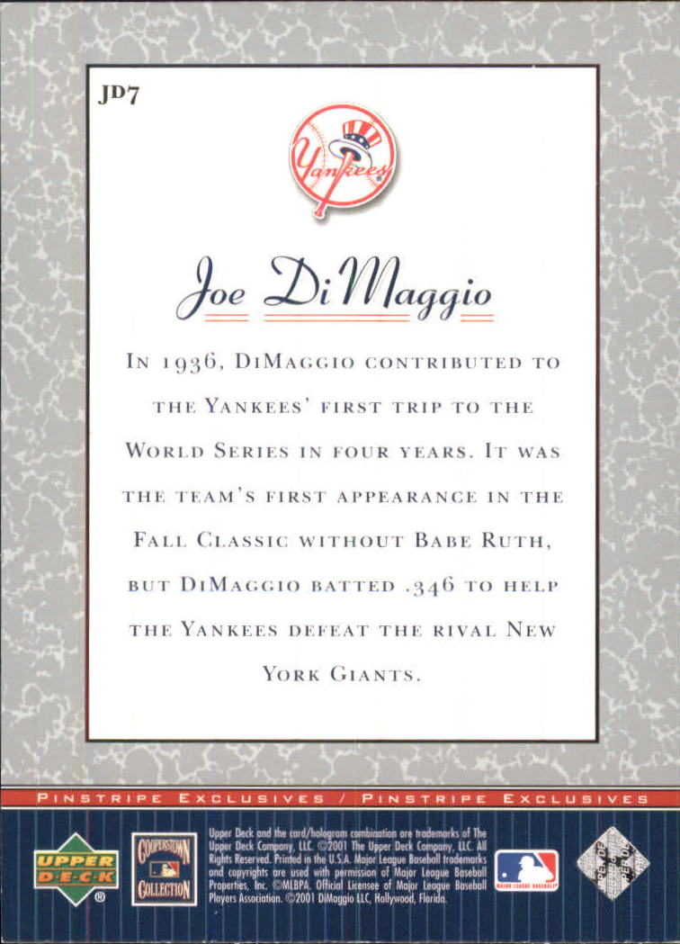 2001 Upper Deck Pinstripe Exclusives DiMaggio #JD7 Joe DiMaggio back image