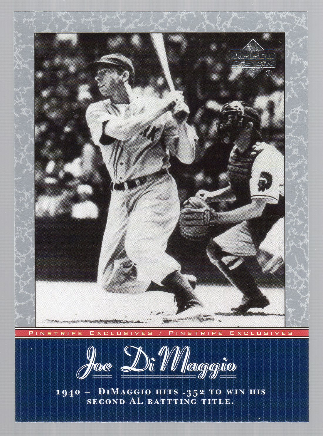 2001 Upper Deck Pinstripe Exclusives DiMaggio #JD18 Joe DiMaggio front image