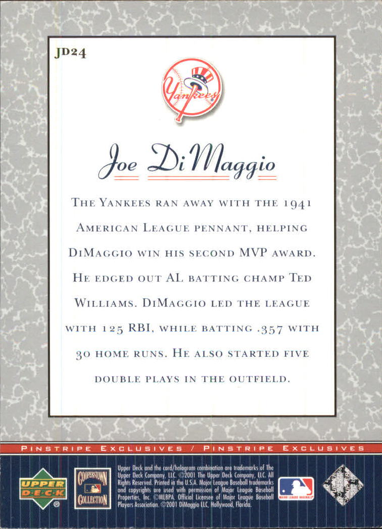 2001 Upper Deck Pinstripe Exclusives DiMaggio #JD24 Joe DiMaggio back image