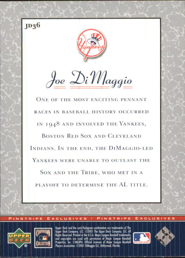 2001 Upper Deck Pinstripe Exclusives DiMaggio #JD36 Joe DiMaggio