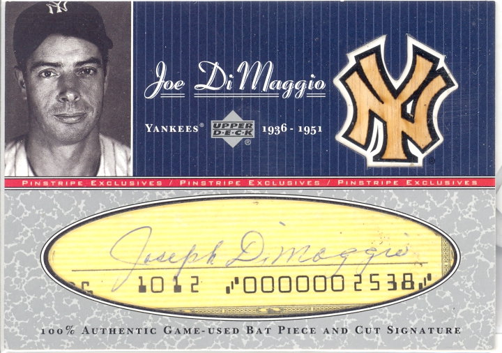 2001 Upper Deck Pinstripe Exclusives DiMaggio Memorabilia #BC7 J.DiMaggio Bat-Cut/5