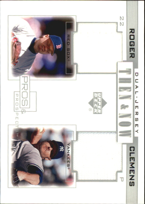 2001 Upper Deck Pros and Prospects Then and Now Game Jersey #TNRC Roger Clemens