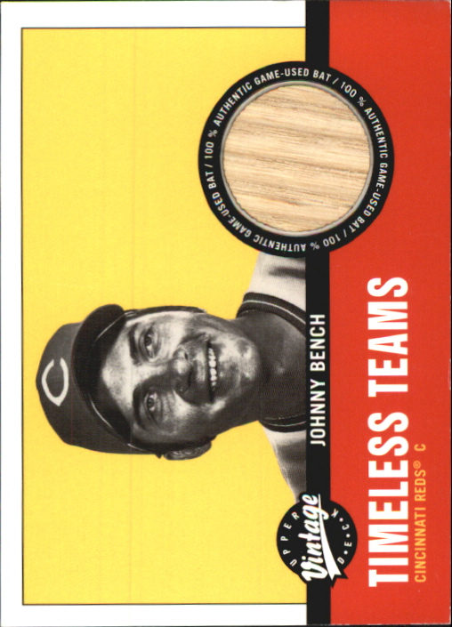 2001 Upper Deck Vintage Timeless Teams #CI2JB Johnny Bench Bat