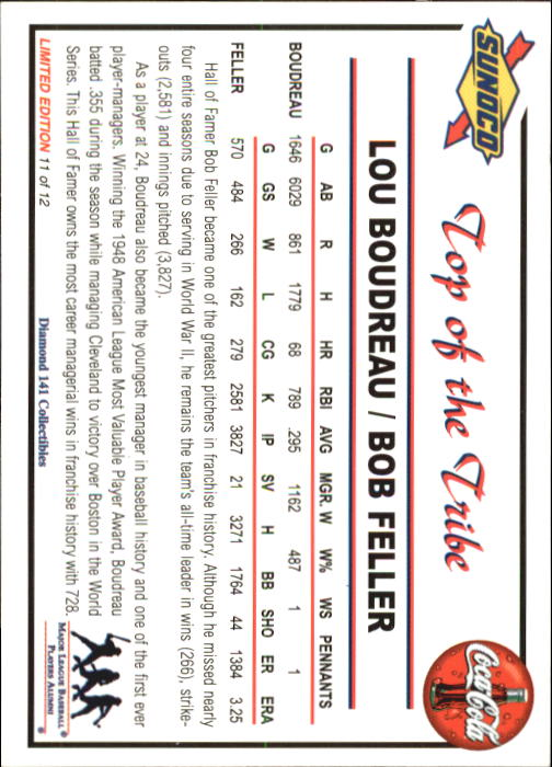 2001 Sunoco Dream Team #11 L.Boudreau/B.Feller back image