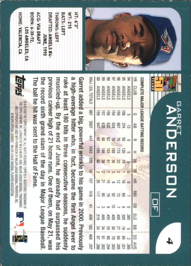 2001 Topps #4 Garret Anderson