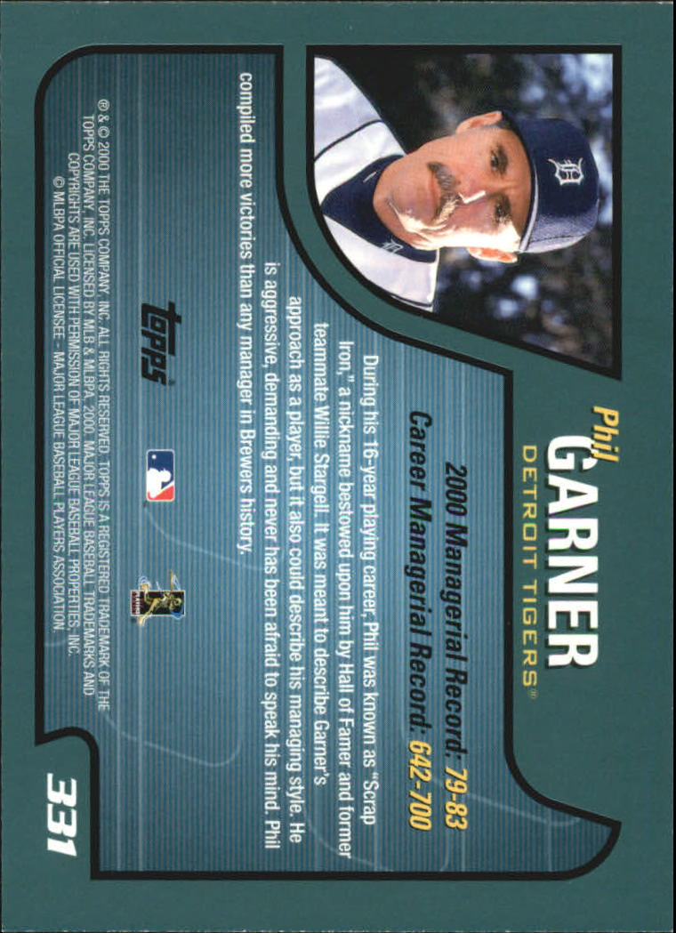 2001 Topps #331 Phil Garner MG back image