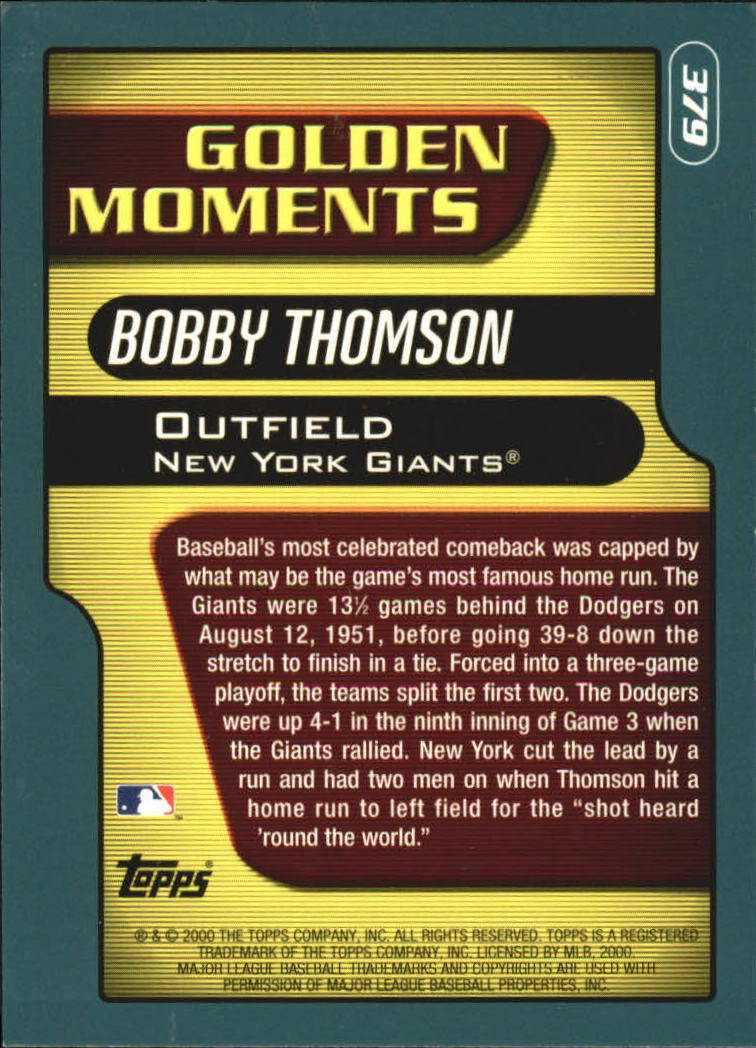 2001 Topps #379 Bobby Thomson GM back image