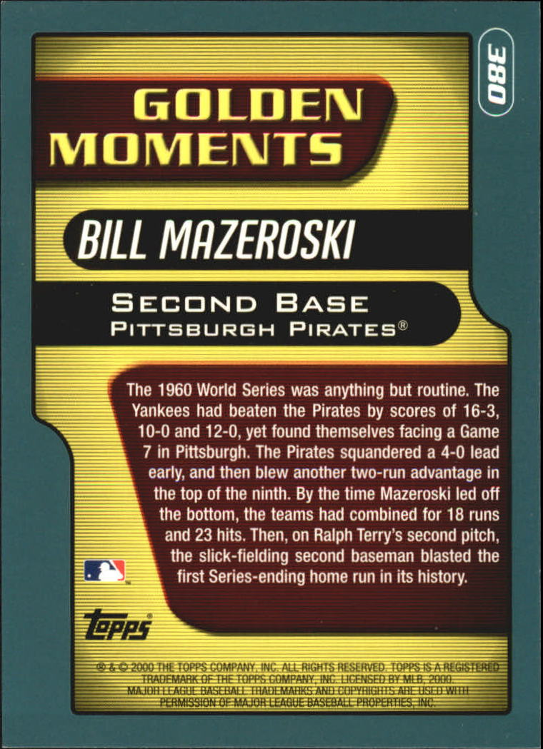 2001 Topps #380 Bill Mazeroski GM back image