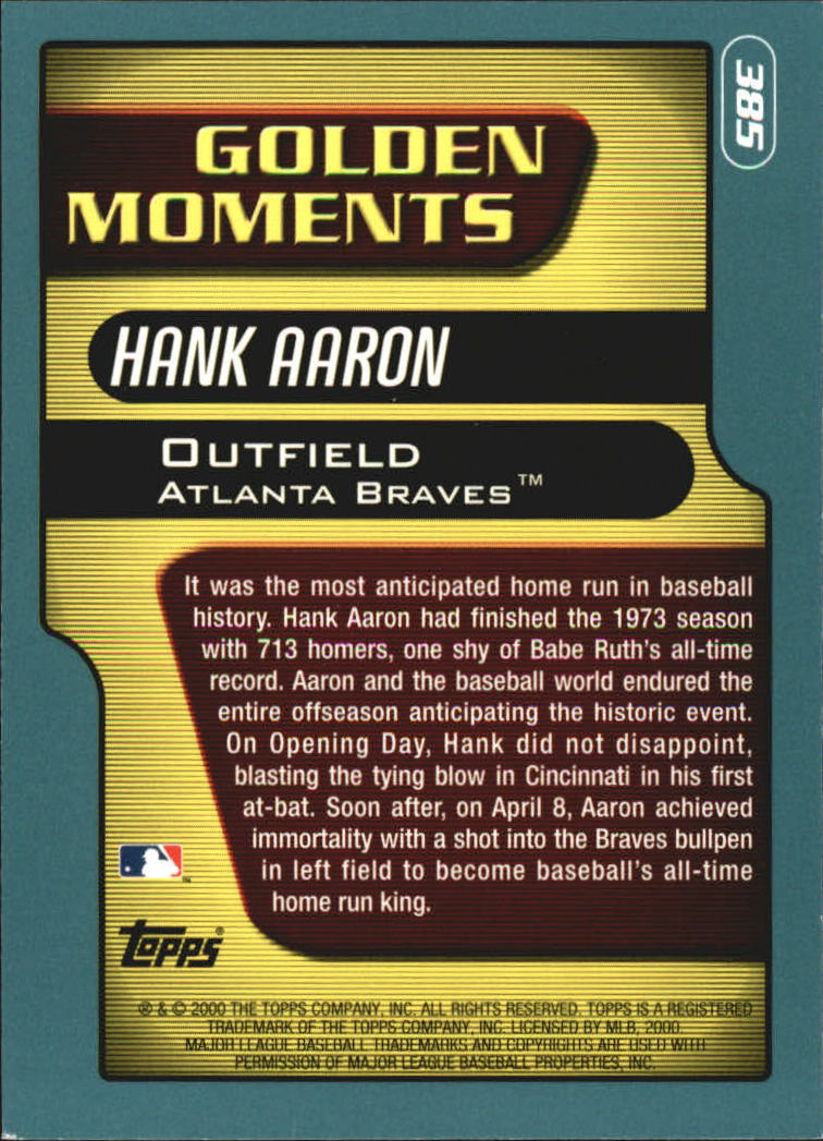 2001 Topps #385 Hank Aaron GM back image