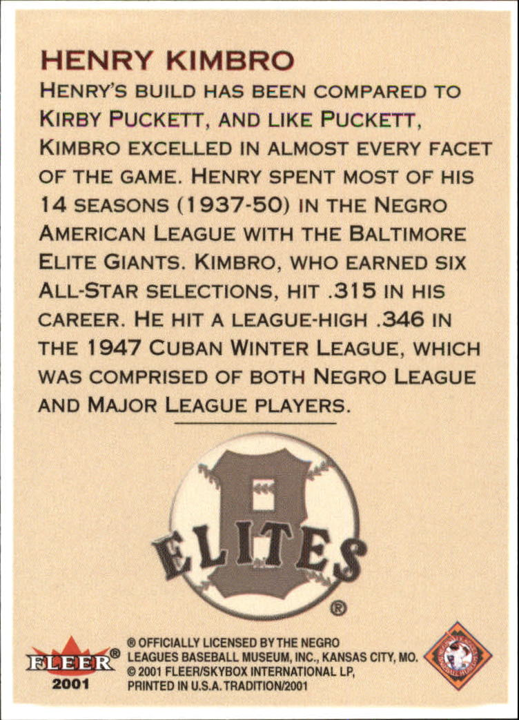 2001 Fleer Tradition Stitches in Time #NNO Henry Kimbro back image