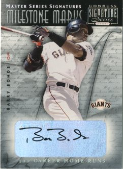 2001 Donruss Signature Milestone Marks Masters Series #4 Barry Bonds