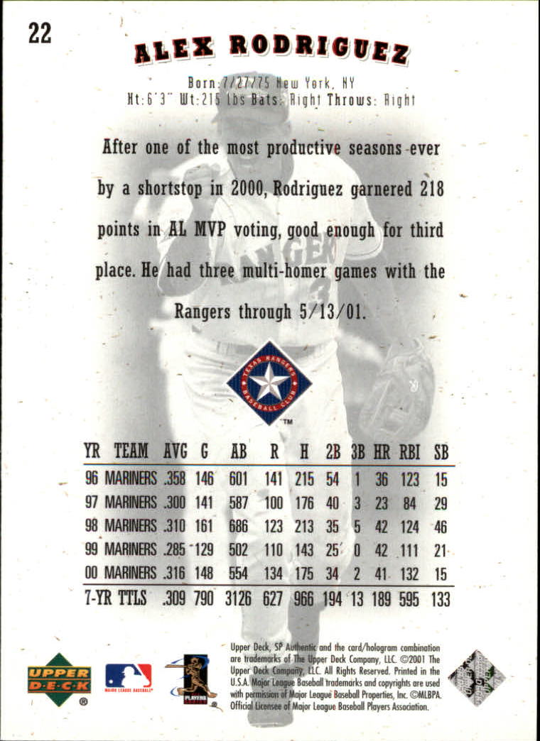 2001 SP Authentic #22 Alex Rodriguez back image