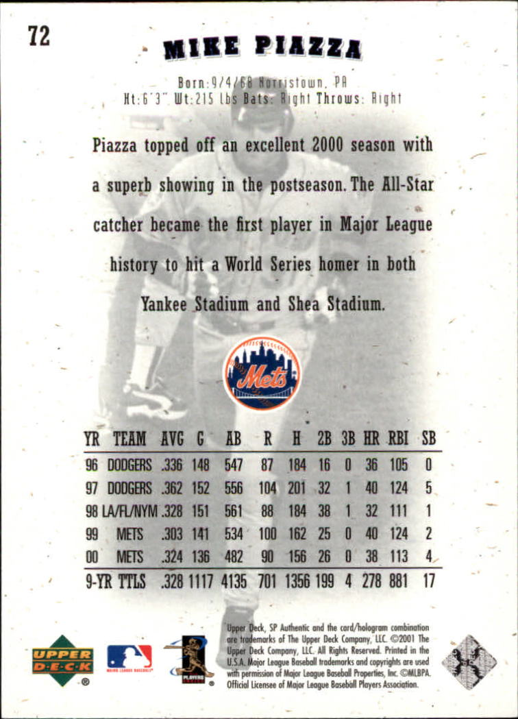 2001 SP Authentic #72 Mike Piazza back image