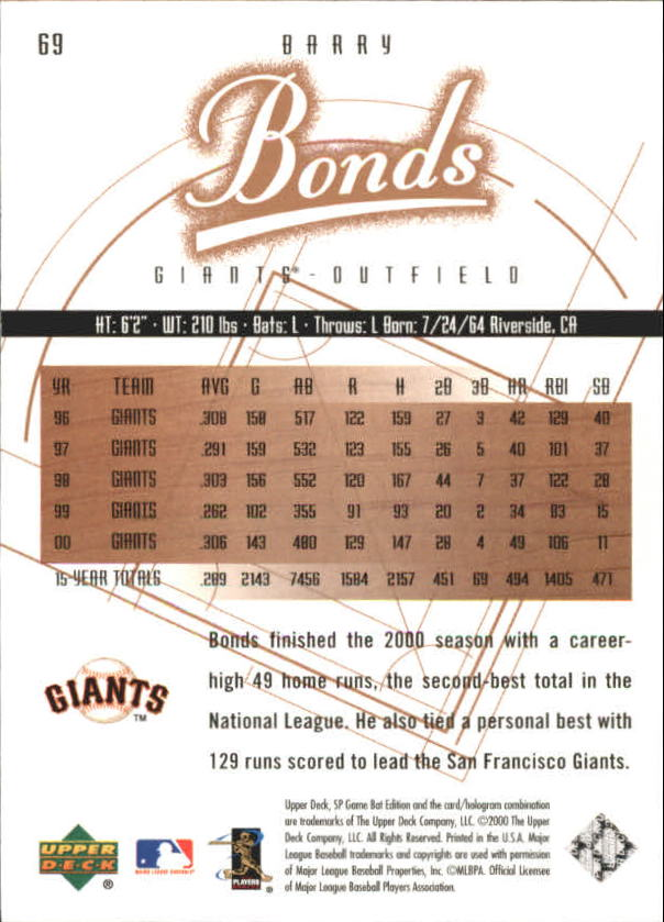 2001 SP Game Bat Edition #69 Barry Bonds back image