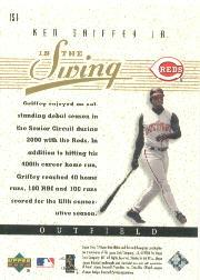 2001 SP Game Bat Edition In the Swing #IS1 Ken Griffey Jr. back image