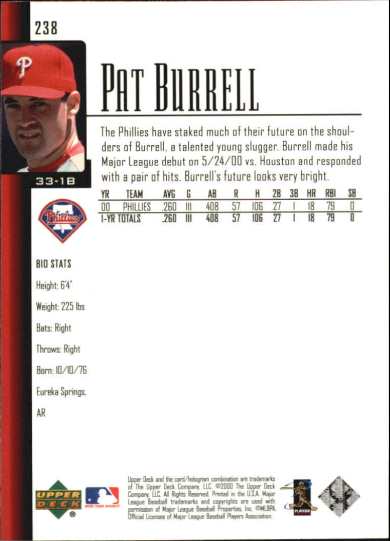 2001 Upper Deck #238 Pat Burrell back image