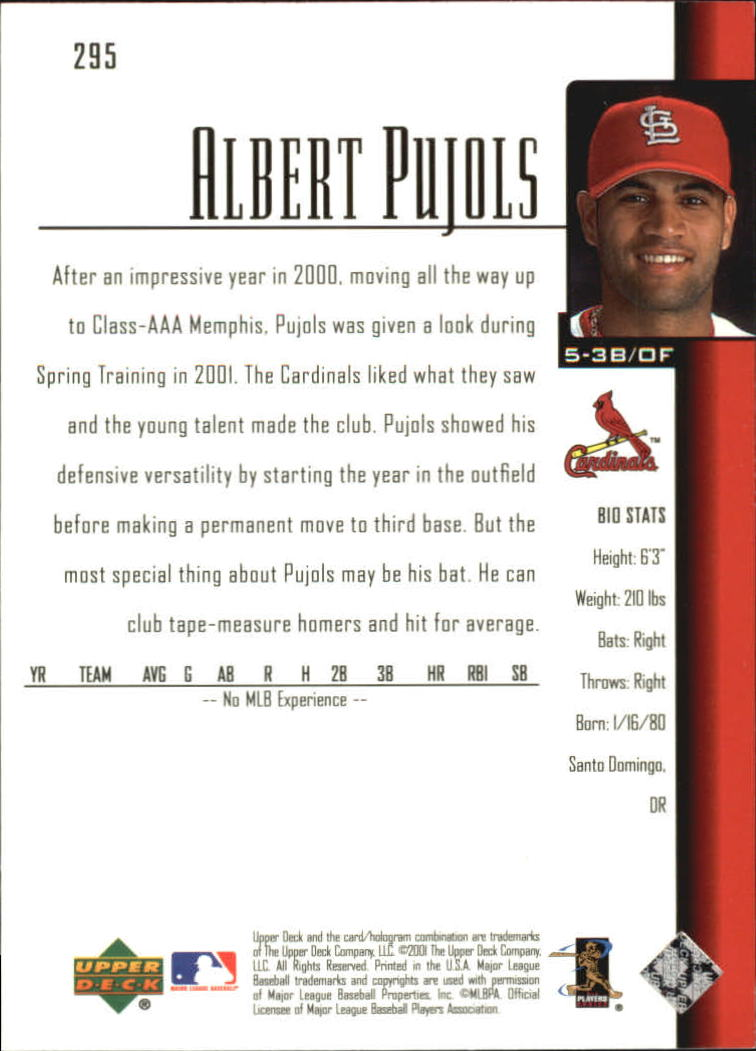 2001 Upper Deck #295 Albert Pujols SR RC