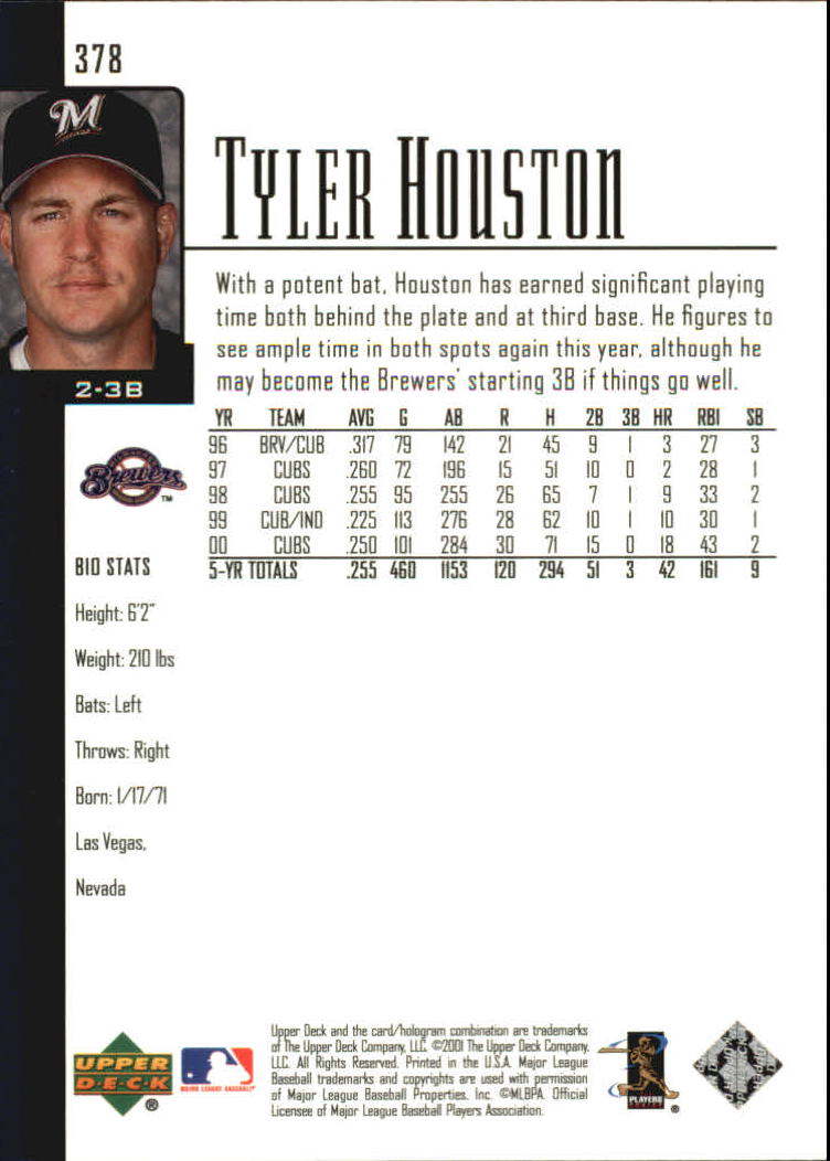 2001 Upper Deck #378 Tyler Houston back image