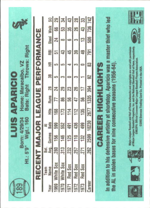 2002 Donruss Originals #189 Luis Aparicio 84