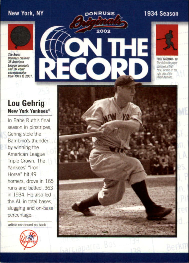 2002 Donruss Originals On The Record #3 Lou Gehrig