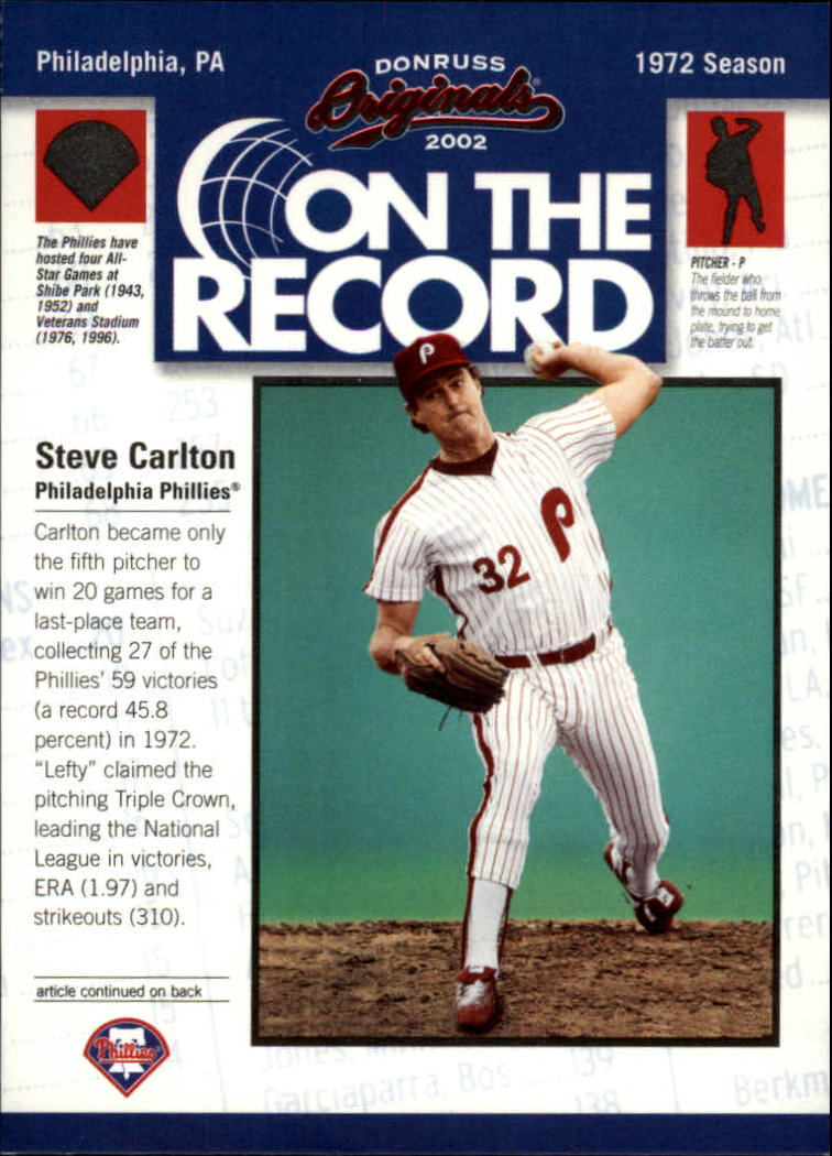 2002 Donruss Originals On The Record #5 Steve Carlton