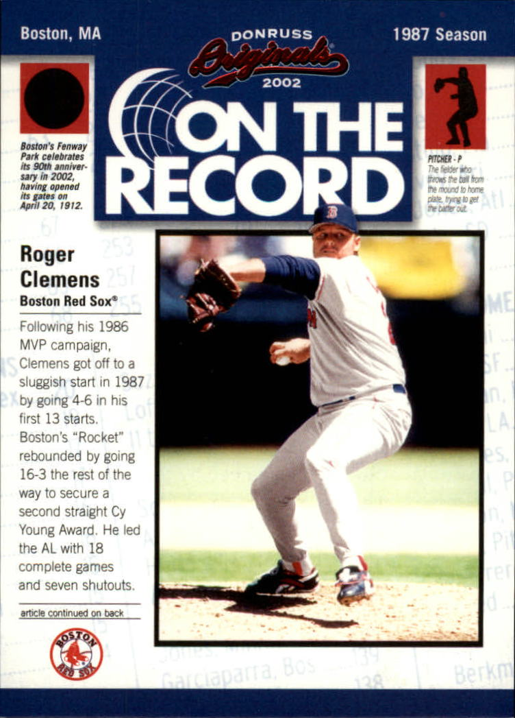 2002 Donruss Originals On The Record #8 Roger Clemens