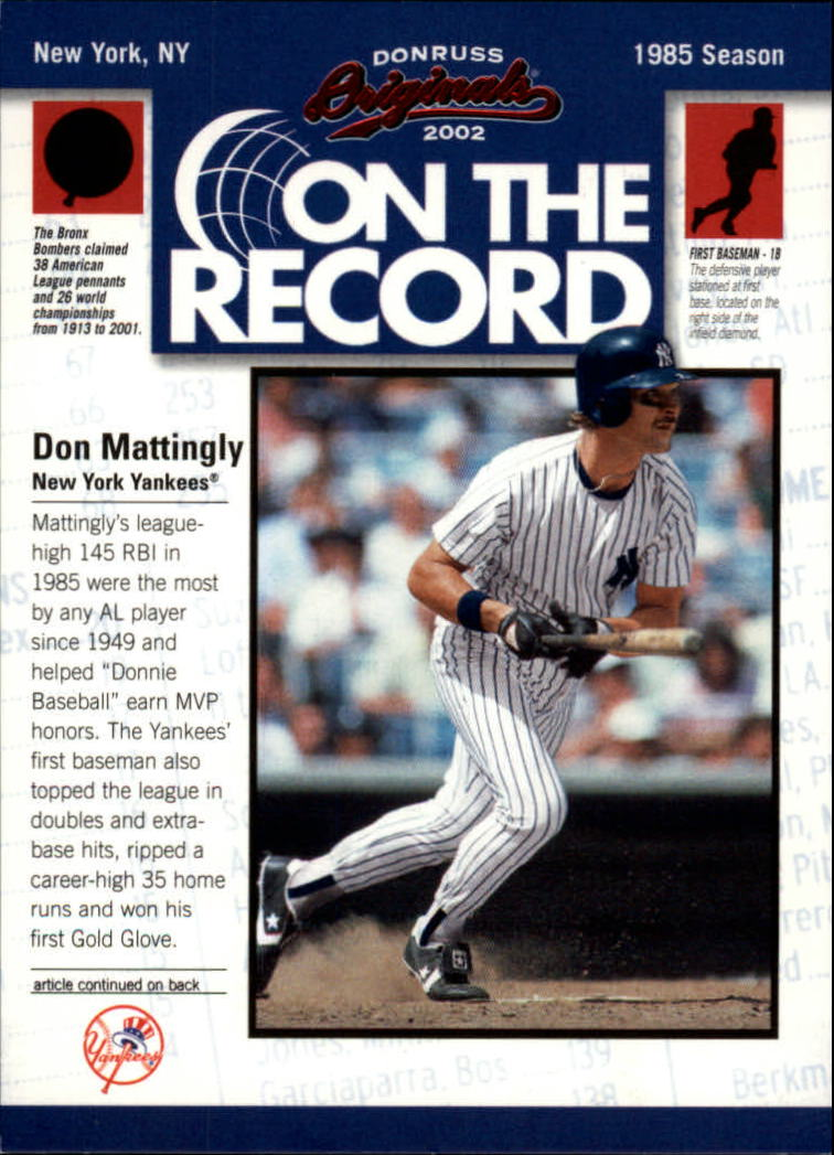 2002 Donruss Originals On The Record #10 Don Mattingly