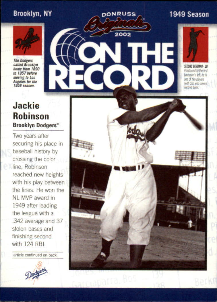 2002 Donruss Originals On The Record #13 Jackie Robinson