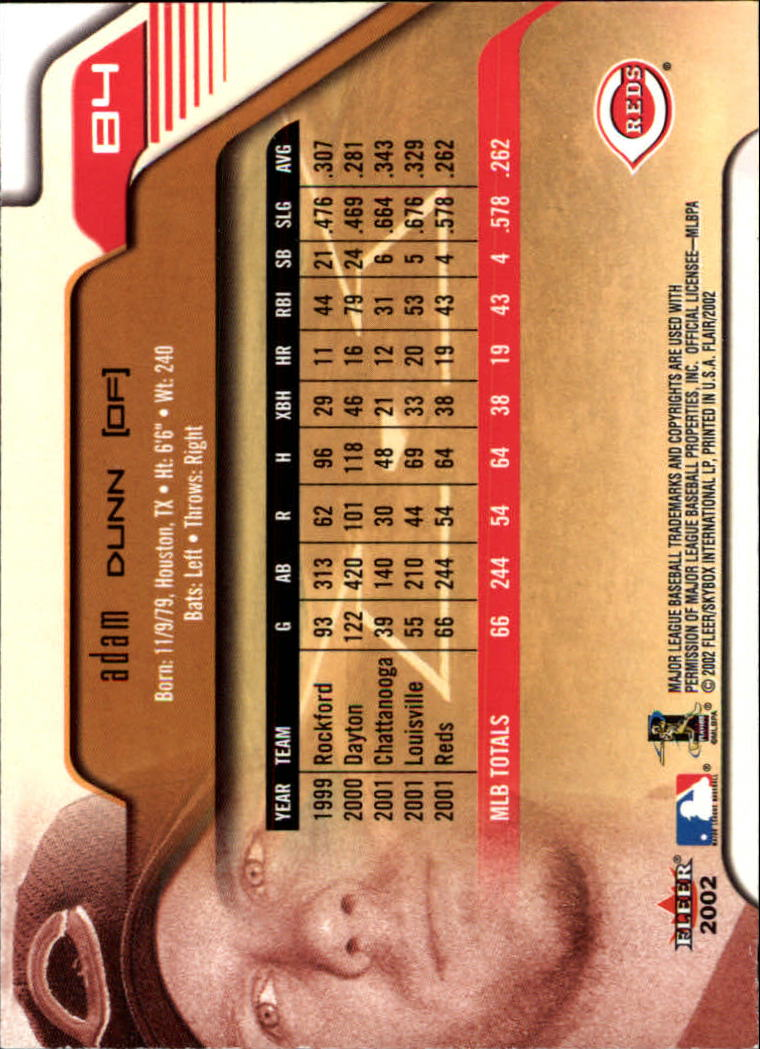 2002 Flair #84 Adam Dunn back image