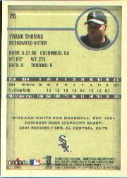 2002 Fleer Authentix #20 Frank Thomas back image