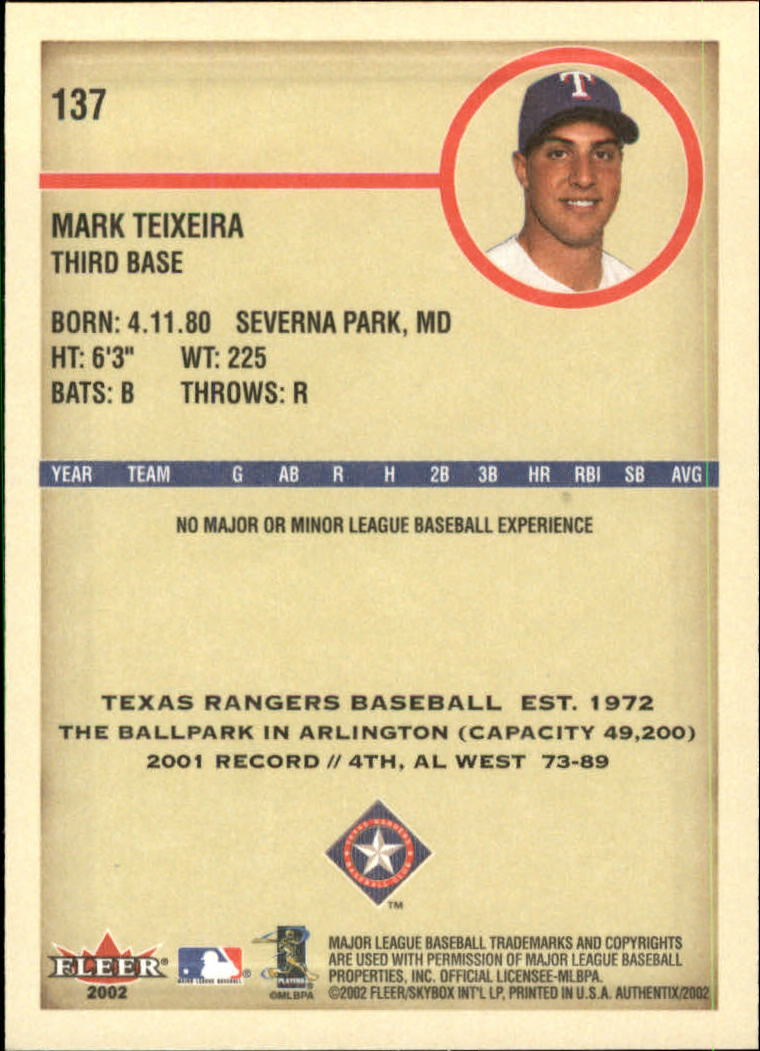 2002 Fleer Authentix #137 Mark Teixeira FS back image