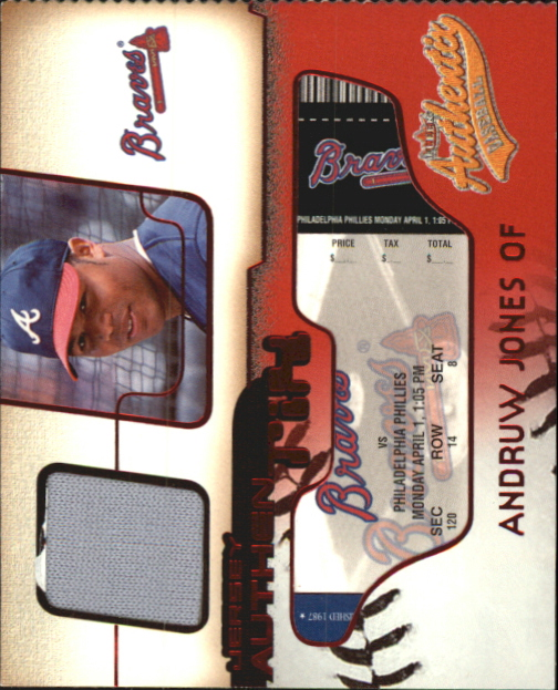 2002 Fleer Authentix Jersey AuthenTIX #JAAJ Andruw Jones SP