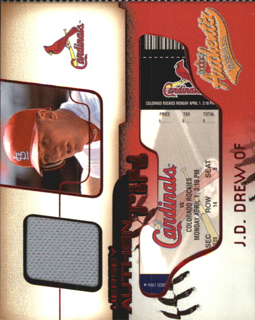 2002 Fleer Authentix Jersey AuthenTIX #JAJD J.D. Drew SP