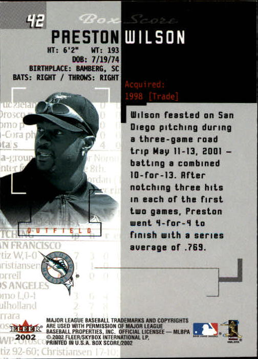 2002 Fleer Box Score #42 Preston Wilson back image