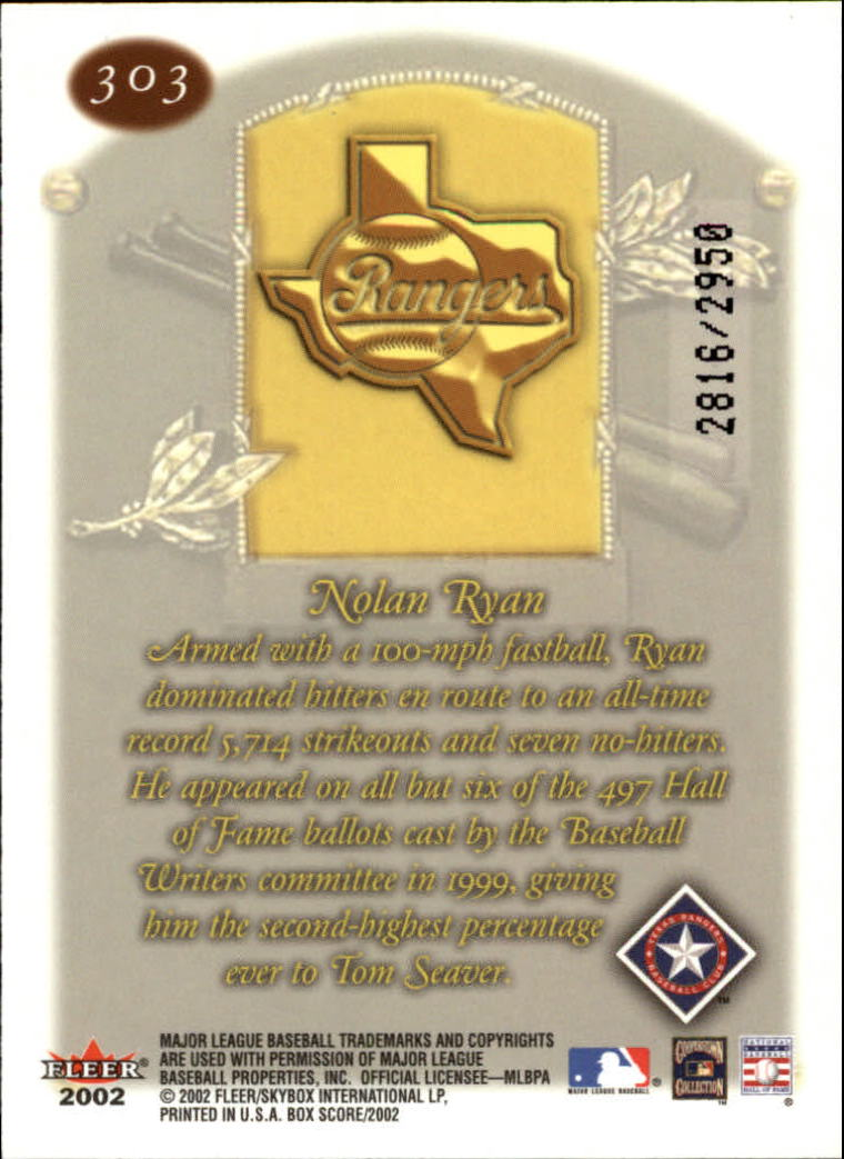 2002 Fleer Box Score #303 Nolan Ryan CT back image